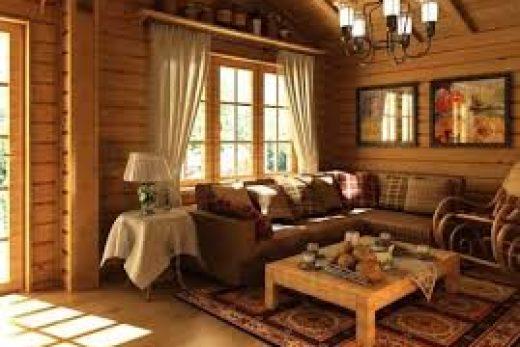 Внутренняя отделка деревянного дома в стиле кантри